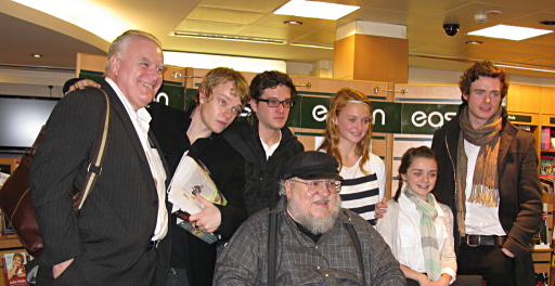 George R.R Martin and some of the cast